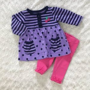 Carter's Baby Girl Outfit Size 9 Months Cherry Dot